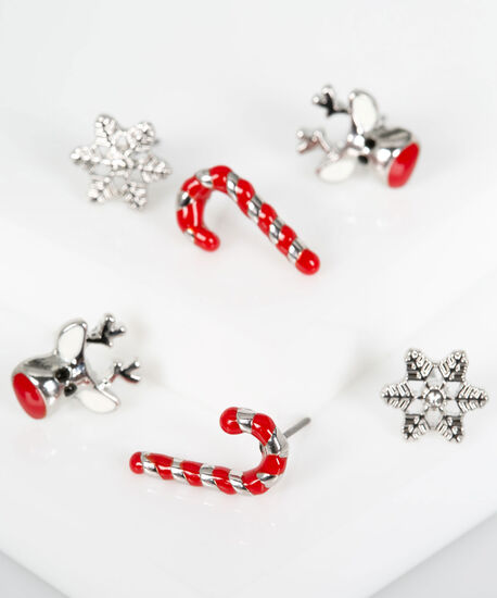 Holiday Earring Set, Rhodium/Crimson/Pearl, hi-res