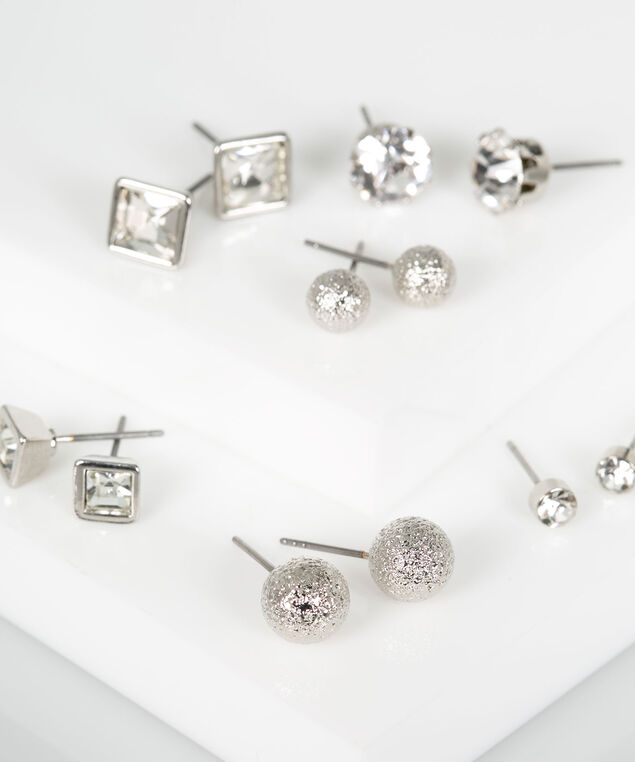 Stud Earring Set, Rhodium, hi-res