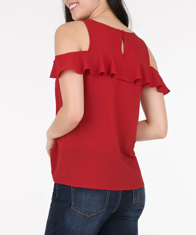 Ruffled Cold Shoulder Blouse, Cherry, hi-res