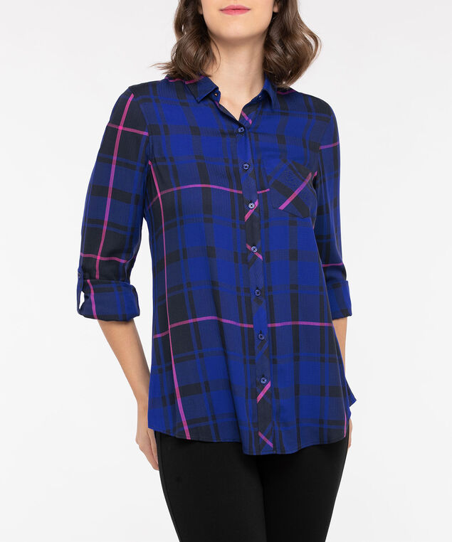 Plaid Button Front Collared Shirt, Bright Blue/Black/Bright Pink, hi-res