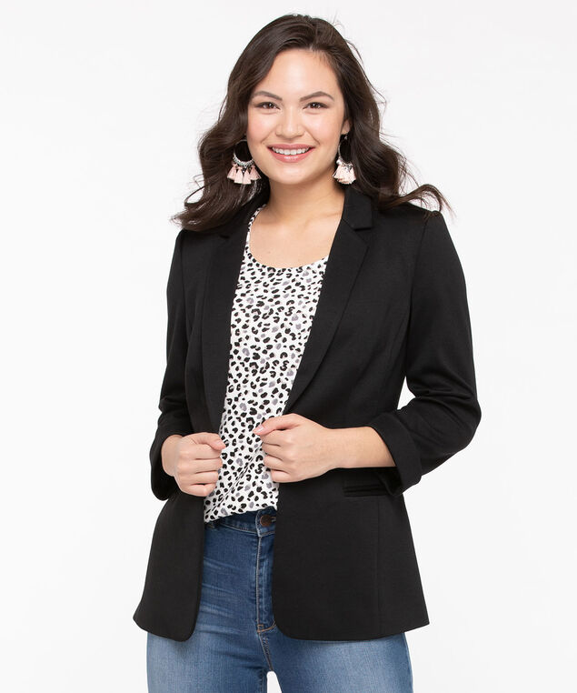 Roll Cuff Knit Boyfriend Blazer, Black, hi-res