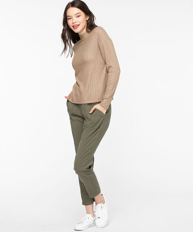 Mock Neck Soft Ribbed Pullover, Taupe Grey