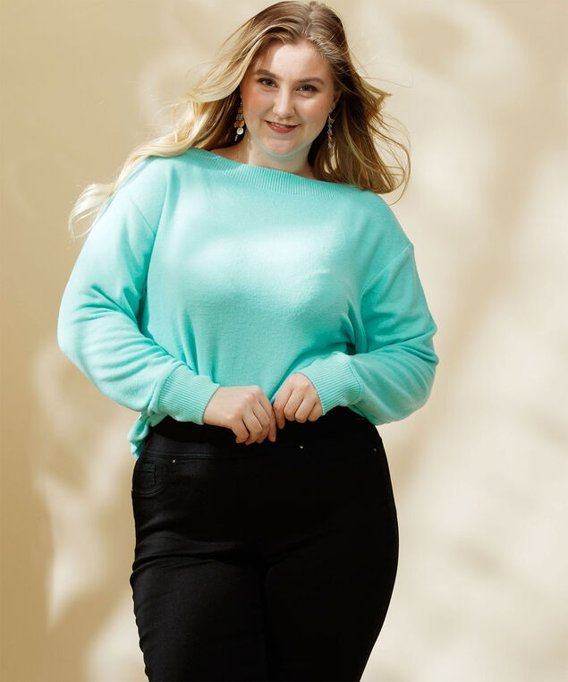 Ribbed Trim Boat Neck Pullover, Angel Blue