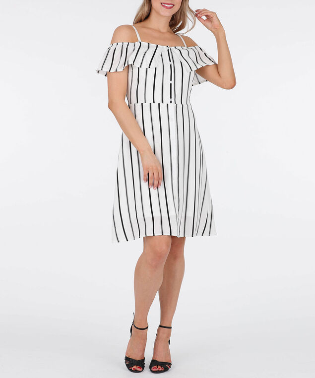Striped Cold Shoulder Dress, Milkshake/Black, hi-res
