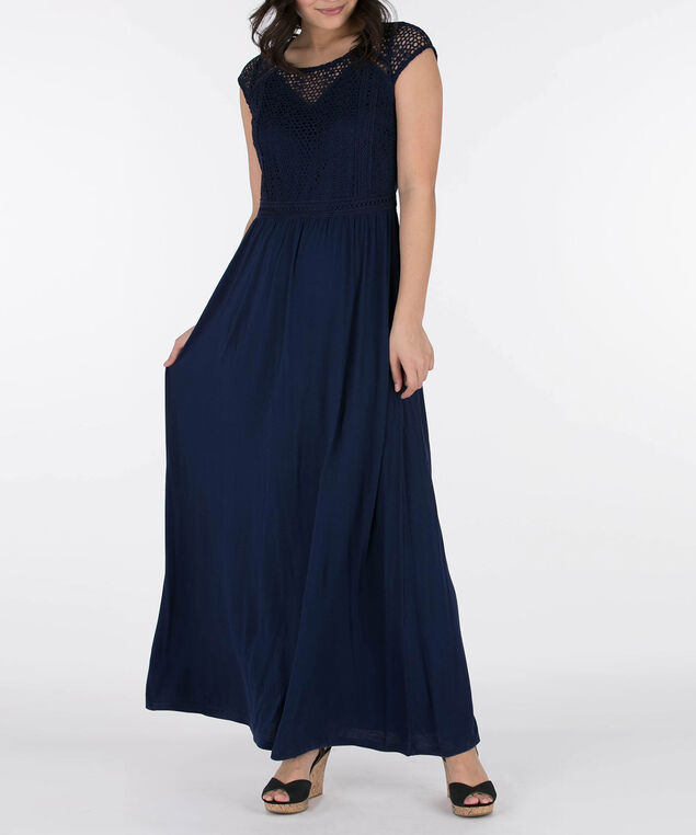 Crochet Top Maxi Dress, Deep Sapphire, hi-res