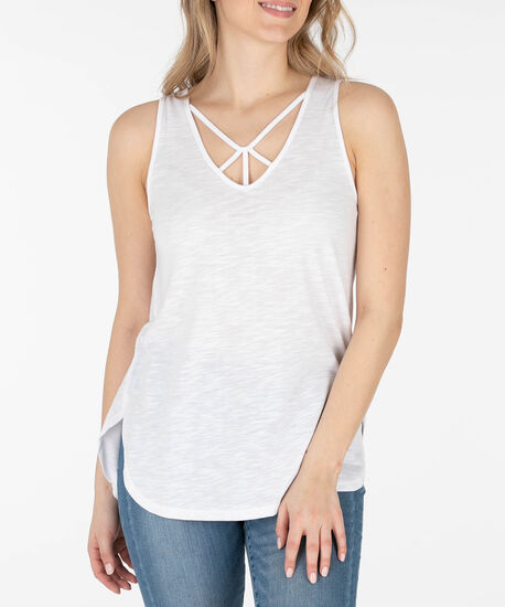 Cut-Out Neckline Tank Top, True White, hi-res