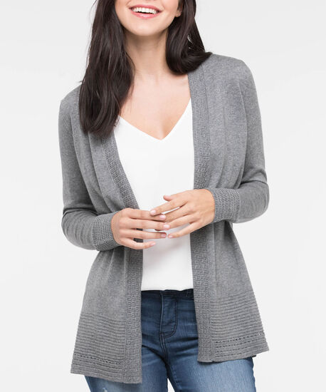 Pointelle Ottoman Stitch Open Cardigan, Mid Heather Grey, hi-res