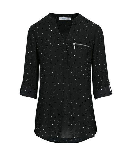 Roll-Tab Henley Style Blouse, Black/White, hi-res