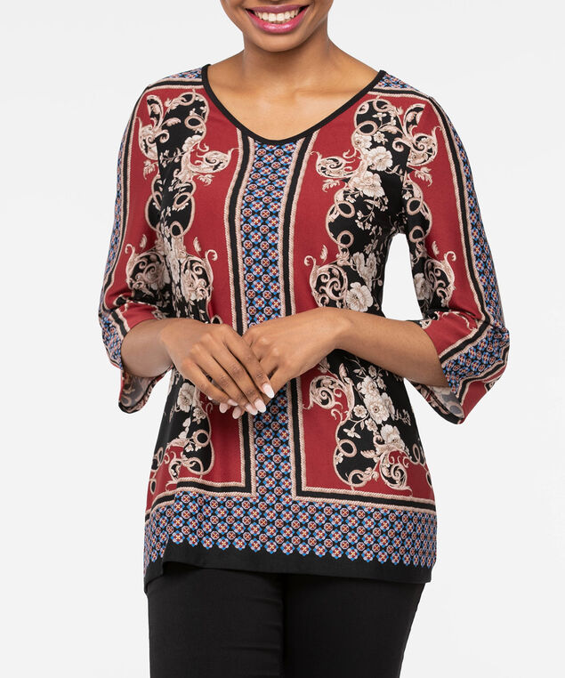 Bell Sleeve V-Neck Tunic, Black/Rust/Steel Blue, hi-res