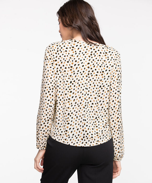 Patterned Peasant Style Top, Ivory Animal Print