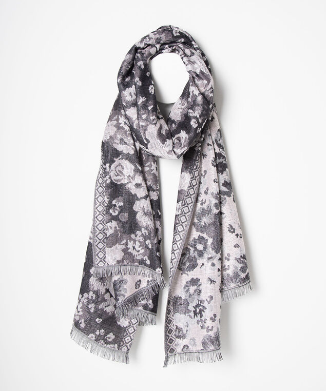Floral Pashmina Scarf, Black/Dusty Blush, hi-res