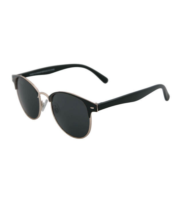 Metal Wayfarer Sunglasses, Black/Gold, hi-res