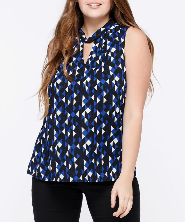 Sleeveless Twist Neck Keyhole Blouse, Black/Blue/Pearl, hi-res