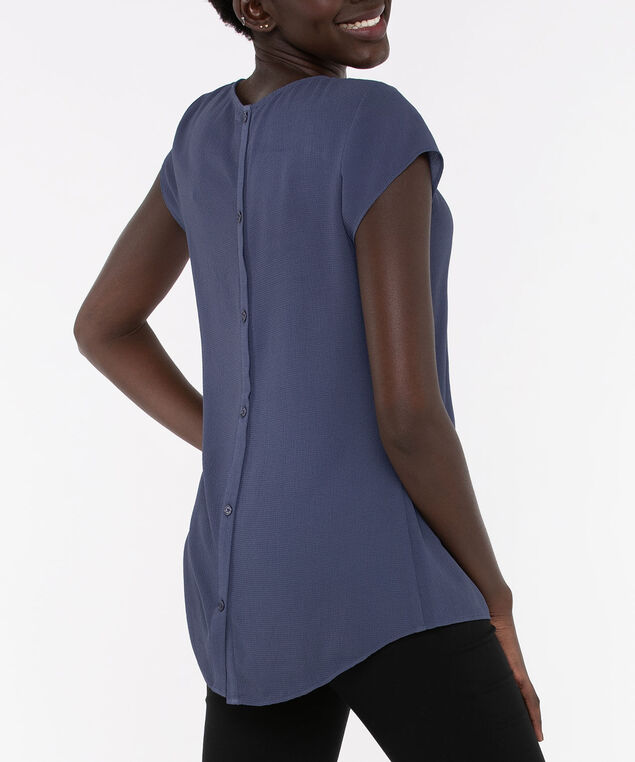 Short Sleeve Button Back Blouse, Blue Fog, hi-res