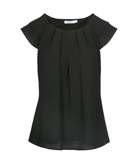 Pleat Neck Flutter Sleeve Blouse, Black, hi-res
