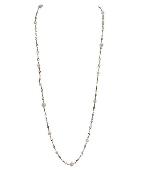 Stationed Imitation Pearl Necklace, White/Rhodium, hi-res
