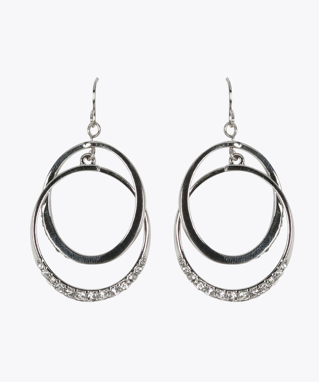 Intertwined Crystal Hoop Earring, Rhodium, hi-res