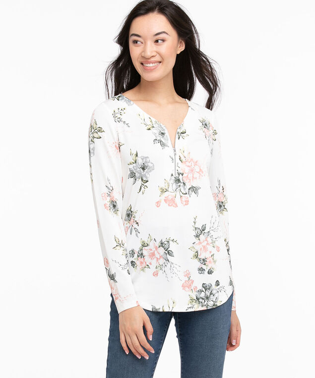 Long Sleeve 1/4 Zip Hacci Top, Ivory/Pink/Blue/Green Floral