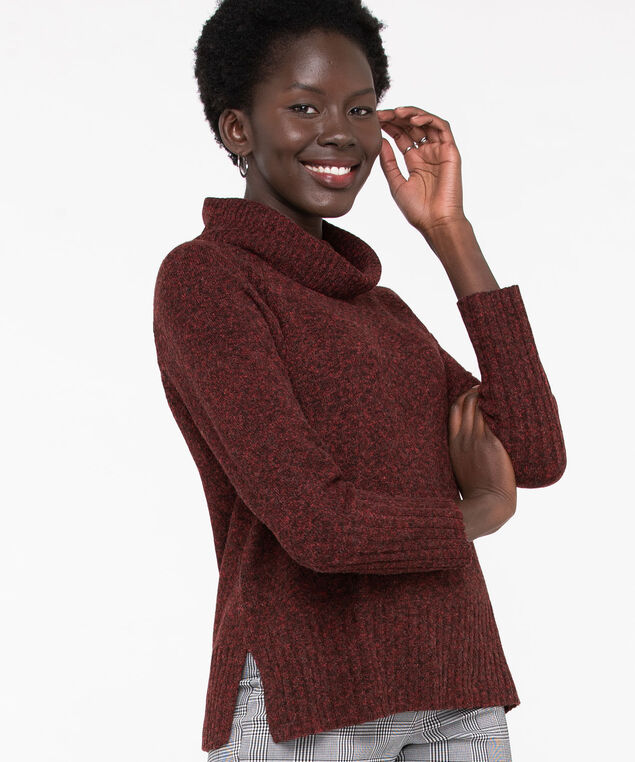 Ribbed Cowl Neck Pullover, Chili Pepper