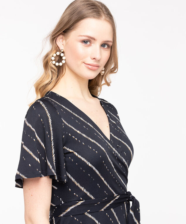 Short Sleeve Midi Wrap Dress, Summer Navy/Pearl, hi-res
