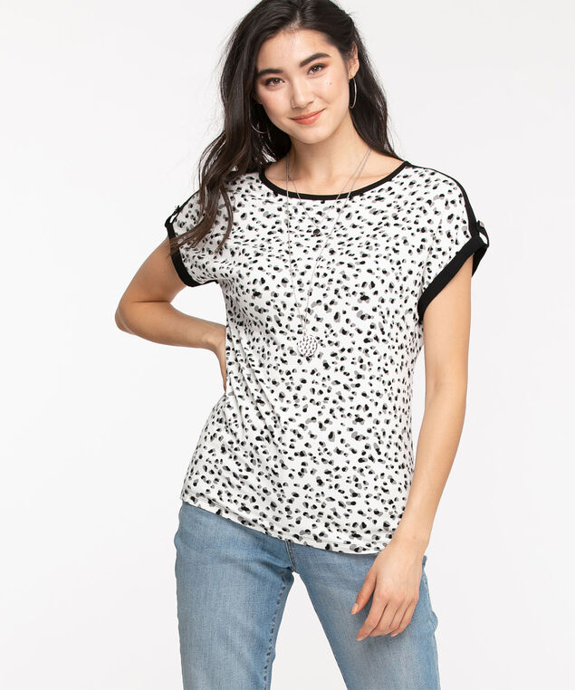 Extended Sleeve Woven Top, White Animal Print
