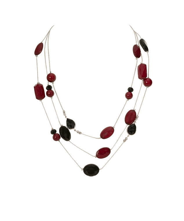 Stationed Bead Multi-Strand Necklace, Ruby/Burnished Silver, hi-res