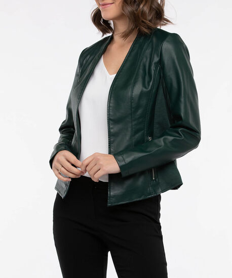 Faux Leather Open Front Blazer, Deep Green, hi-res