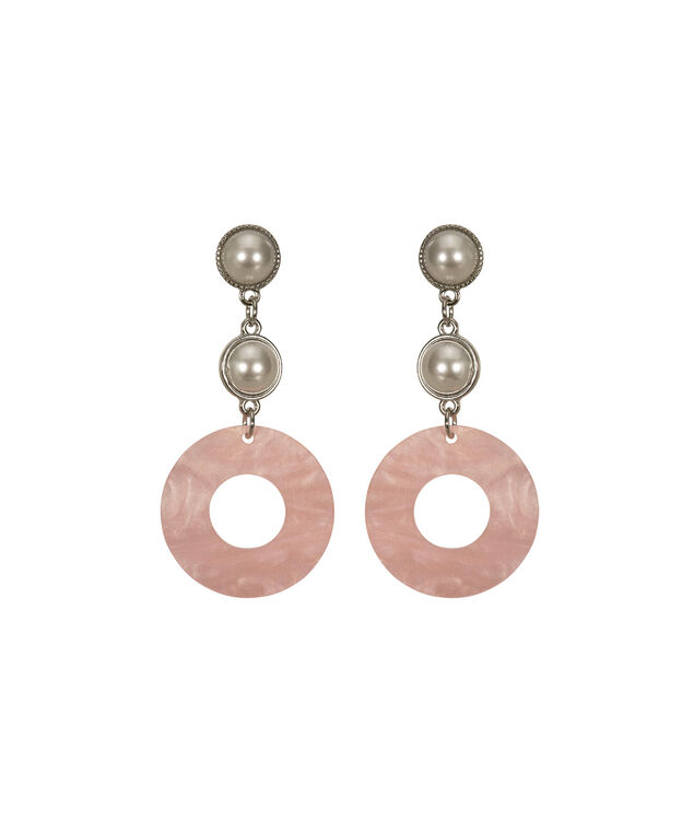 Resin Circle & Pearl Drop Earring, Blush/White/Rhodium, hi-res