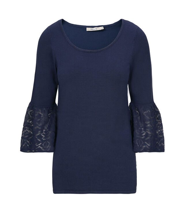 Flounce Sleeve Pullover Sweater, Ink Blue, hi-res