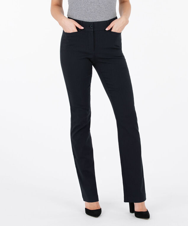 Microtwill Fly Front Bootcut Leg, Navy, hi-res