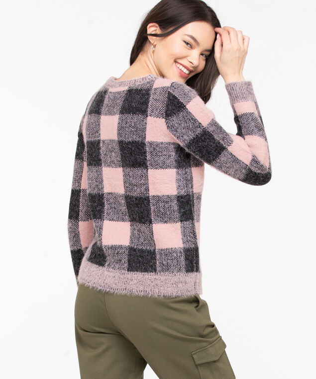 Cozy Plaid Crew Neck Sweater, Misty Rose/Black, hi-res