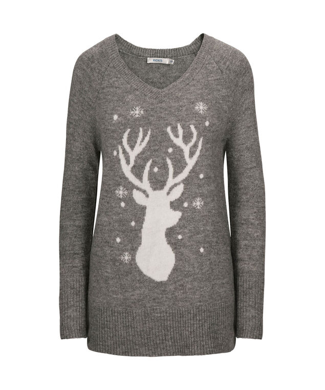 Reindeer Plush V-Neck Sweater, Grey/Milkshake, hi-res
