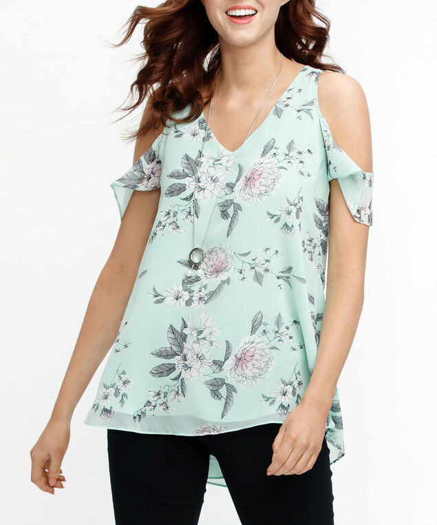 468d60828c9 ... V-Neck Cold Shoulder Blouse