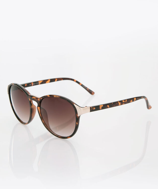 Round Tortoise Print Sunglasses, Brown/Black, hi-res