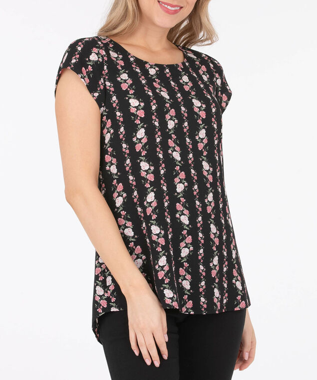Button Back Tulip Sleeve Blouse, Black/Primrose, hi-res