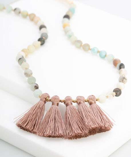Beaded Necklace & Silky Tassel Necklace, Rose Petal/Gold/Moss, hi-res