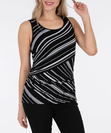 Sleeveless Asymmetrical Striped Ruched Top, Black/Pearl, hi-res