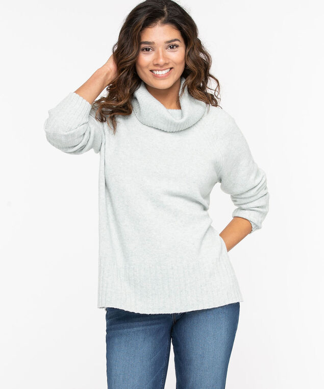 Ribbed Cowl Neck Pullover, Sage