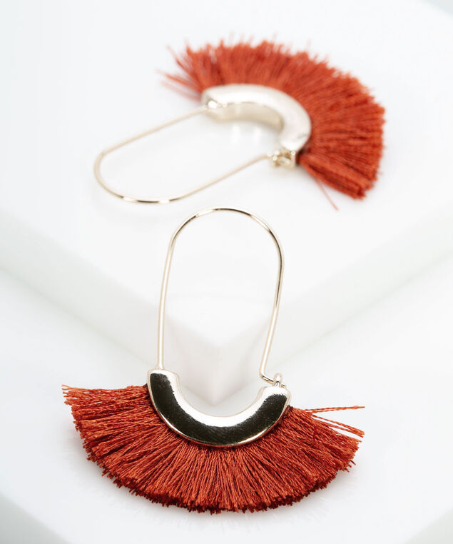 Oblong Tassel Fan Earring, Chili/Gold, hi-res