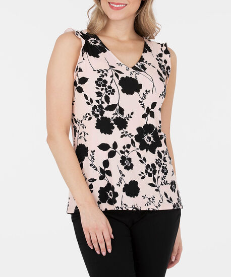 Sleeveless Ruffled V-Neck Top, Cameo Pink/Black, hi-res