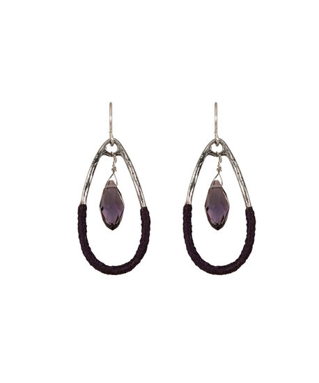 Thread Wrapped Teardrop Earring, Blackberry/Burnished Silver, hi-res
