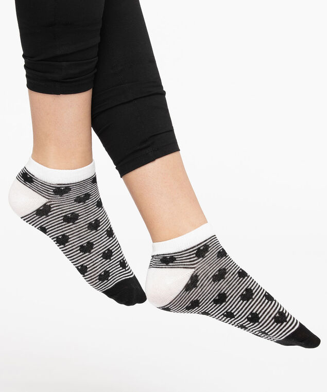 Hearts & Stripes Ankle Socks, Black/Pearl, hi-res