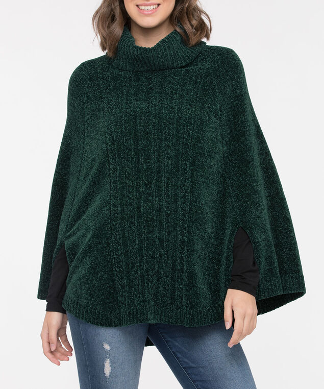 Chenille Cowl Neck Poncho, Ivy, hi-res
