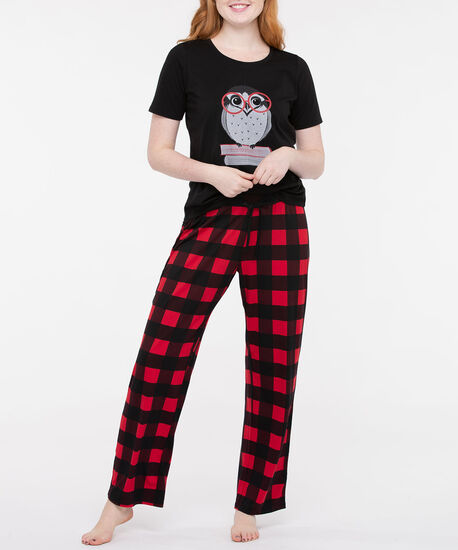 Owl Screen Tee Pajamas, Black/Pearl/Crimson, hi-res