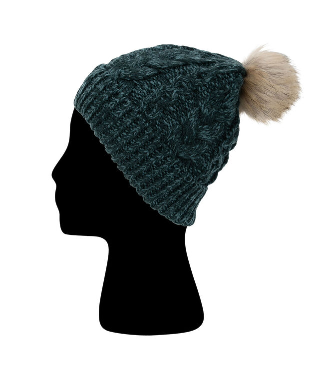 Faux Fur Pom Knitted Toque, Teal, hi-res