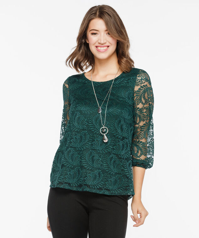 Fancy Back Detail Lace Top, Deep Green, hi-res