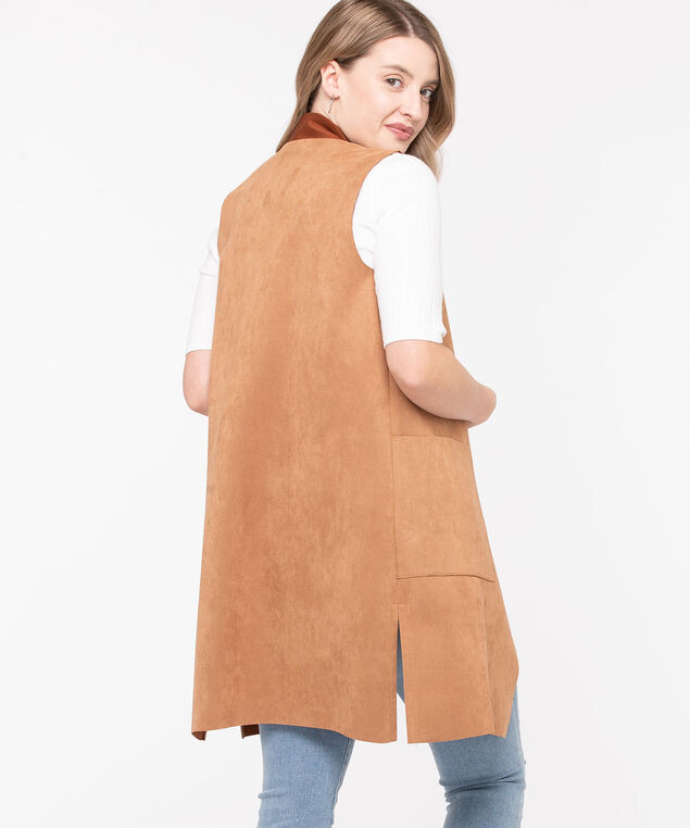 Long Faux Suede Vest, Camel, hi-res