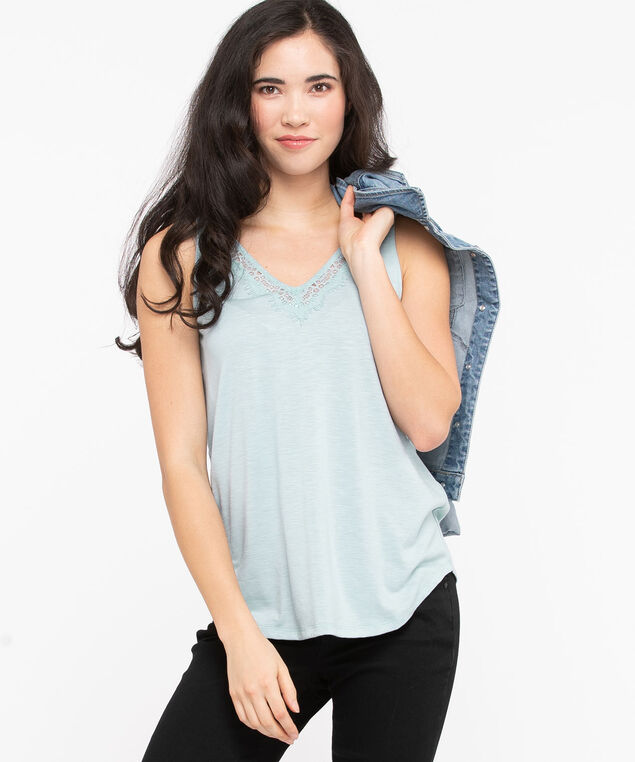 Sleeveless Lace Trim V-Neck Top, Stone Blue, hi-res
