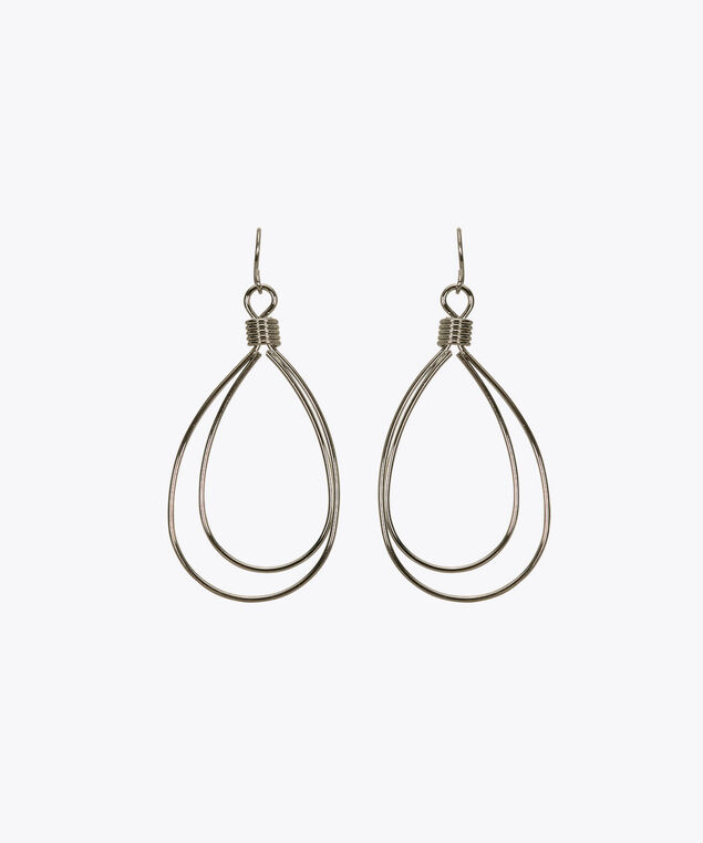 Double-Wire Teardrop Earring, Rhodium, hi-res