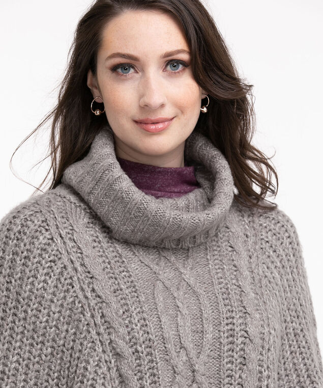 Cable Knit Cowl Neck Poncho, Heather Grey